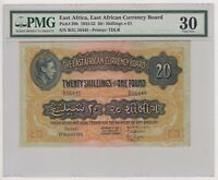 East Africa Currency 20 Shillings P30b 1951 VF King George VI British Rule PMG30