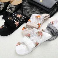 New Women Ultra Thin Socks Fashion Transparent Crystal Rose Elastic Short Socks