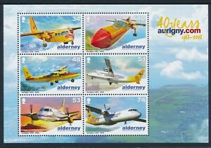 2008 ALDERNEY AURIGNY AIR SERVICE 40th ANNIVERSARY MINI SHEET FINE MINT MNH