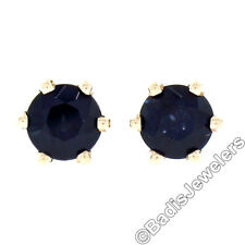 Simple 14K Yellow Gold .96ct 4.5mm Round Prong Sapphire Screw Back Stud Earrings