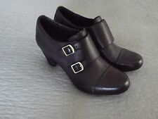"""Womens CLARKS BENDABLES ANKLE Booties SIZE 10M Black LEATHER 3"""" HEEL"""