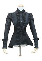 Women Victorian Vintage Gothic Black Ruffle Steampunk Halloween Blouse Shirt