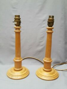 Pair Of Vintage BHS Wooden Pine Column Lamp Bases (Height 31cm)