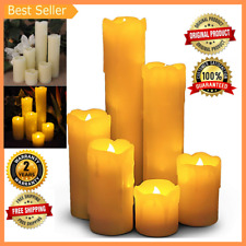6 Flameless Flickering Fake Electric Battery LED Pillar Candles Real Wax w Timer