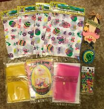 Easter Basket Bundle Lot Tablecloth,Net Wrap,Bunny Hanger,Beads Set,Bracelets