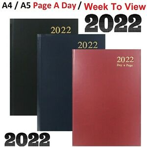 2022 A4/A5/A6 Day A page, Week To View Hard Backed Casebound Cover Desk Diary