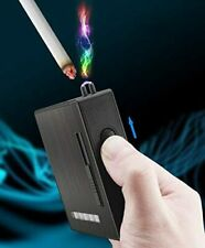 1Electric Metal Cigarette Flameless Windproof Flameless USB Lighter Box Holder