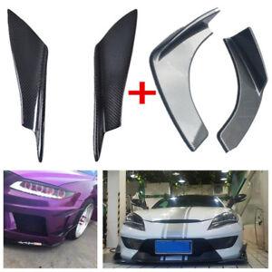 4Pcs 2x Carbon Fiber Front Bumper Splitter Fins Canards+2x Car Bumper Splitters