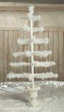 "Bethany Lowe 28"" Ivory Feather Christmas Tabletop Tree in Urn Base"