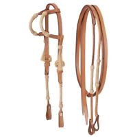 Western Natural Leather Rawhide Braided Set of Headstall and Reins