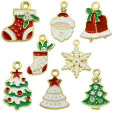 10PCS Wholesale Mixed Gold Christmas Gifts Charms For DIY Pendant/Bracelet Xmas