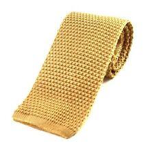 Men's Plain Light Gold Silk Knitted Tie (N997/18)