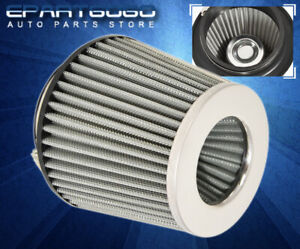 """For Bmw 2.5"""" Mesh Air Short Intake Cold Filter Jdm Vip Dry Cone Aluminum Silver"""