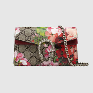 GUCCI Dionysus GG Blooms super mini bag, Beige, New, Authentic
