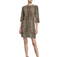 Equipment Aubrey Silk Dress Shift Natural Underground Leopard Print L
