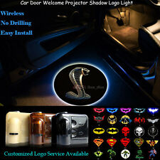 2x Wireless 3D Ford Shelby Cobra Logo Car Projector Ghost Shadow CREE LED Light