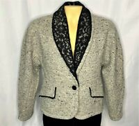 Metropolis Women Made in Italy Pure Wool Fringe Tweed Blazer Lace Collar Small