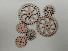 small steam punk wood project gears. Laser cut wood. 6 pieces