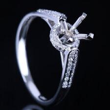 5-5.5mm Round Engagement Wedding Semi Mount Setting Diamond Ring 10K White Gold