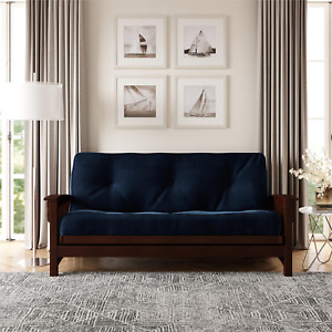 2021 DHP 8 Inch Frame Encased Coil Futon Mattress, Black Microfiber Sofa Bed