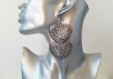 Gorgeous hematite - dark silver tone long double heart drop earrings, NEW