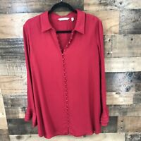 Soft Surroundings Womens Morrocan Red Poet Blouse Long Sleeve Tiered Ruffle Cuff