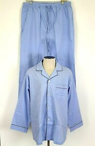 Brooks Brothers Men's Lightweight Summer Pajamas Set Shirt & Pants Blue Check XL