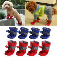 Pet Dog Waterproof Winter Warm Boots Rain Foot Shoes Puppy Non Slip Boots 4Pcs