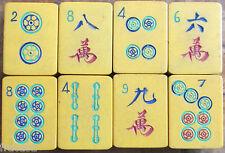 Eight Vtg Chinese Bakelite Mahjong Tiles Crafts, Replacements, Orphans Mahjongg
