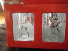 MARILYN MONROE SUBWAY SCENE LOT 4 X DOUBLE OLD-FASHIONED GLASSES SET RARE HTF!!!