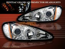 1999-2005 PONTIAC GRAND AM PROJECTOR HEADLIGHTS DUAL TWIN HALO LED CHROME