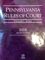 Pennsylvania Rules Of Court 2018 Volume I
