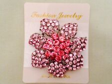 Pink Flower Brooch Crystal Diamante Hijab Scarf Pin Party Wedding