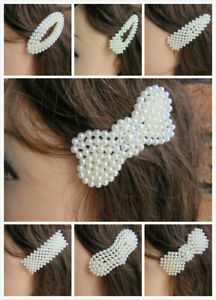 Hair Clip Pearl Slide Barrette Bridal Hair Accessory Oversized Large Silver UK