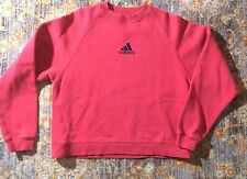 Vintage Adidas Women's Pullover Sweatshirt Top Red Navy Logo Size Small