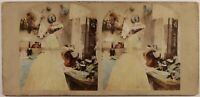 UK Scena Artistica Cucina Foto Stereo Vintage Albumina c1860