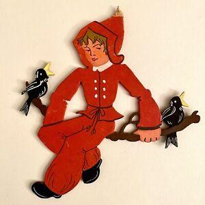 Märchen-Holzbild ALT 1930er 18x16cm Antike Raben-Elfe Handgemalt Elfe Figur Kind