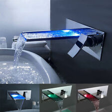 Chrome LED Color Bathroom Wall Mount Waterfall Brass Faucet Basin Sink Mixer Tap