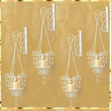 4 Pendant Sconce White Ivory Hanging Candle Holder Wall Decor
