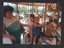 Vintage Photograph Mom With Two Babies Riding Carousel Horse At Amusement Park