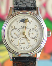 Vintage Mens Oris DayDate Moonphase Automatic Watch 7433 Skeleton Swiss Made