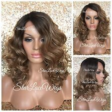 Lace Front Wig Curly Side Part Pecan Brown Blonde Mix Dark Roots #4 Heat Safe Ok