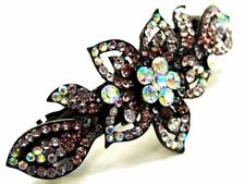 New Purple Austrian Crystal Orchid Flower Black Hair Clip Wedding Prom Party