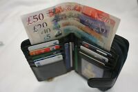 Ladies Leather Purse Wallet Large Size with Two Zip Pockets Black RFID Protected