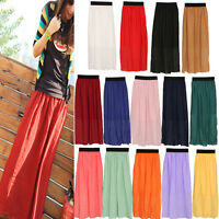 Elegant Women Chiffon Pleated Long Maxi Skirt Elastic Waistband New
