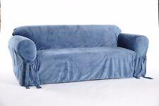 Classic Slipcovers Solid Velvet Sofa Slipcover Blue