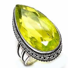 Peridot Gemstone Handmade Vintage Silver Fashion Jewelry Ring Size 7.5 SR3737