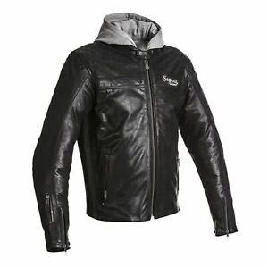 Motorcycle Leather Jacket > Segura Style Motorbike Armoured Hooded Mens - Black