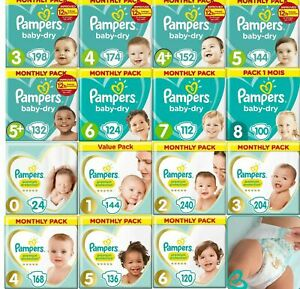 Pampers Baby Dry Nappies Premium Pack Size 0 1 2 3 4 4+ 5 5+ 6 7 8 Mega Box Pack