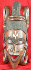 1950s 1960s Senegal Hand Carved Wood Tribal Mask w Inlaid Cow Bone weighs 6lbs.